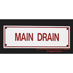 Sign,Aluminum,Main Drain,6x2